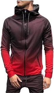 Mogogo Men's Hooded Printed Zip Up Relaxed Ombre Hip-Hop Pullover Top Sweatshirt