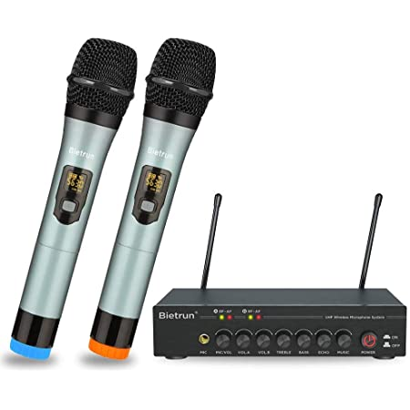Bietrun Wireless Microphone with Adjustable Echo/Treble/Bass with Bluetooth, 160 ft Range, Metal Dual Dynamic Handheld Mic System, 1/8''&1/4''Output, for Home Karaoke, Party, Church, DJ, Wedding, KTV