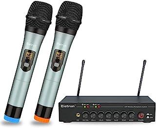 Bietrun Micrófono inalámbrico con eco/agudos/bajos ajustable con Bluetooth, rango de 190 pies, sistema de micrófono de man...