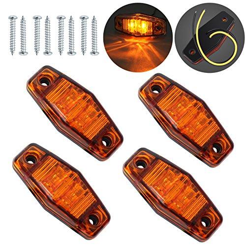 Justech 4 x 2 Dioden Seite Marker Lights Seite Fender Marker Montage Wasserdicht LED Position Seite Lampen