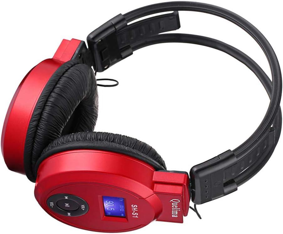 Prettyia Red Wireless Headphones FM Radio Over-Ear Headset Earphones TF LCD Ear-Cup