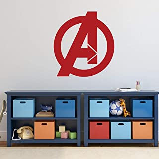 Avengers Vinyl Wall Decal | Marvel Comics Superhero Logo Symbol | Decoration for Boy's or Girl's Bedroom or Playroom, Birthday Party | White, Black, Gray, Red, Blue, Pink, Purple, Other Colors