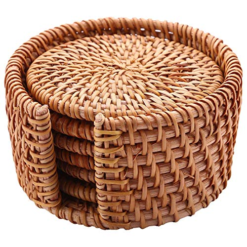 Bopfimer Set di 6 sottobicchieri, per Kungfu Tee, set da tavola rotondo, in tessuto rattan, diametro 8 cm