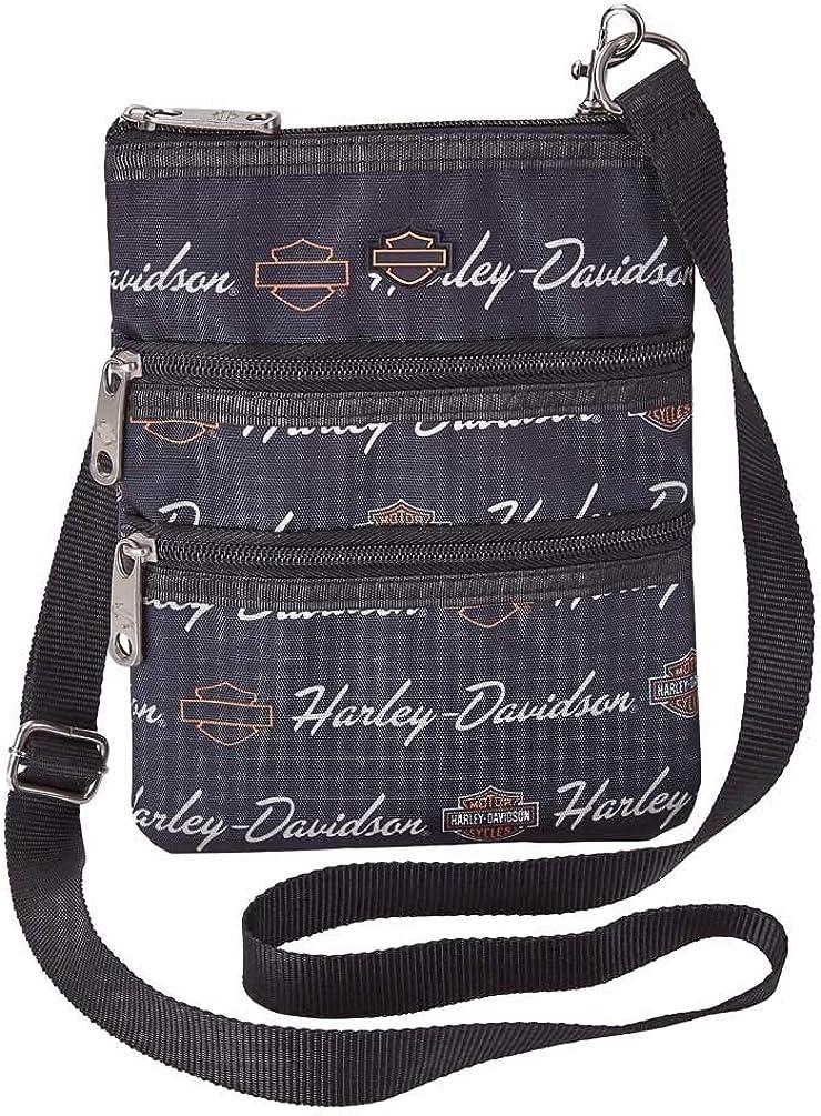 Harley-Davidson Women's Signature Cross-Body Crossbody Sling Purse - Black