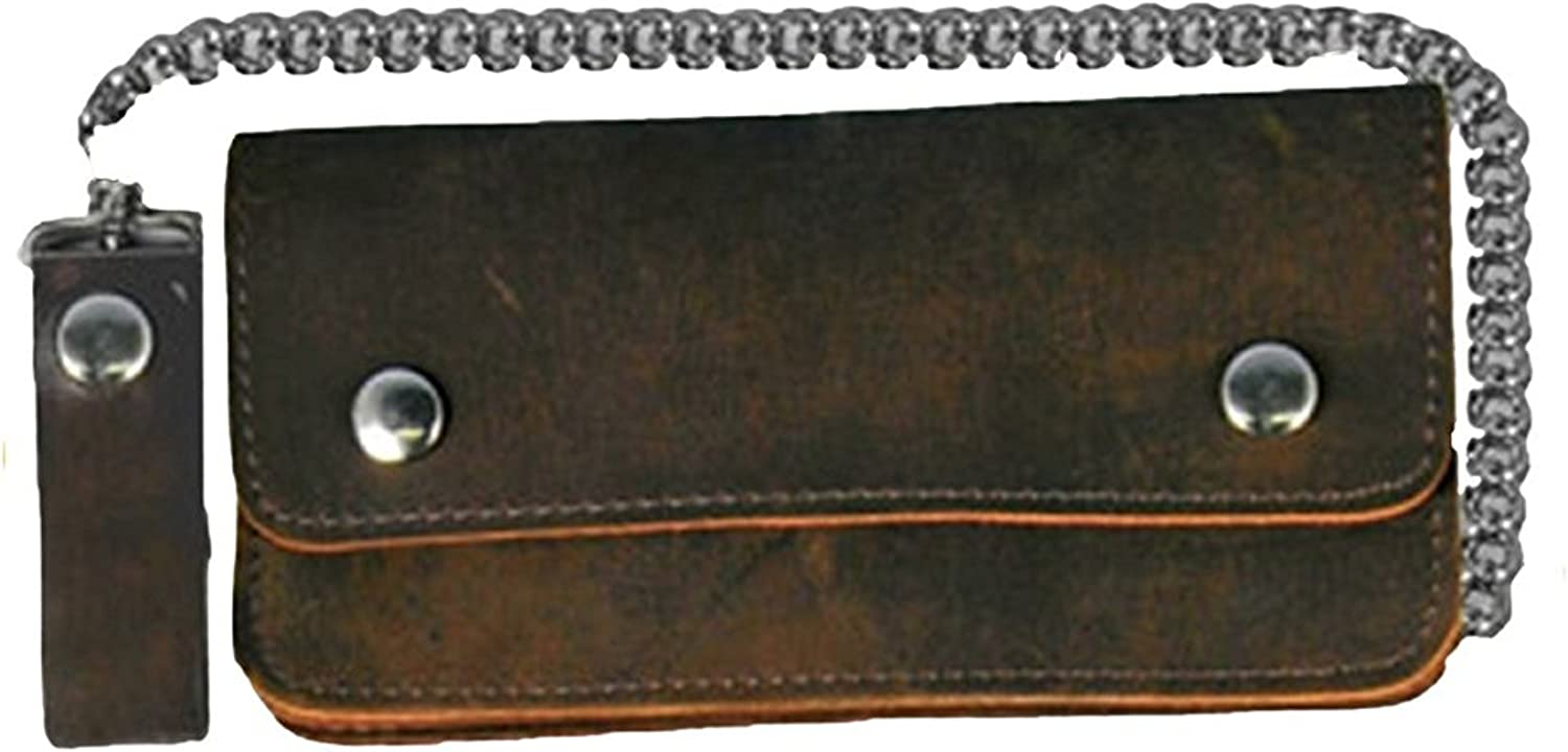 Leather Biker Billfold Chain 8 inch Wallet Natural Tan Brown Distressed Leather Made in USA