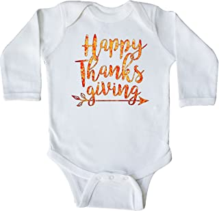 inktastic Happy Thanksgiving with Leaf Arrow in Fall Colors Long Sleeve Creeper