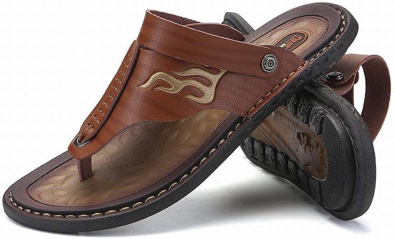 Fuxitoggo Flip-Flop Men's Non-Slip Clip Sandals All-match Double Men's Sandals Large sandals and slippers (color   Brown, Size   43)