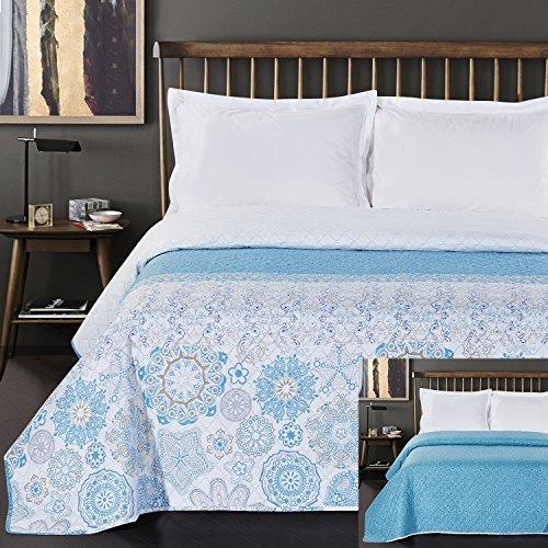 DecoKing Tagesdecke 200 x 220 cm türkis weiß grau Bettüberwurf mit abstraktem Muster zweiseitig pflegeleicht Alhambra hellblau himmelblau White Turquise Light Blue Grey