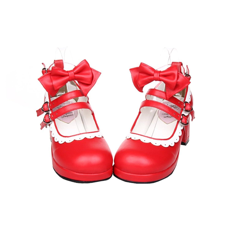[スタアナ] 大きいサイズ ロリータ靴 トリプルリボン パンプス ヒール6cm 手作り ゴスロリコスプレ靴 お嬢様風