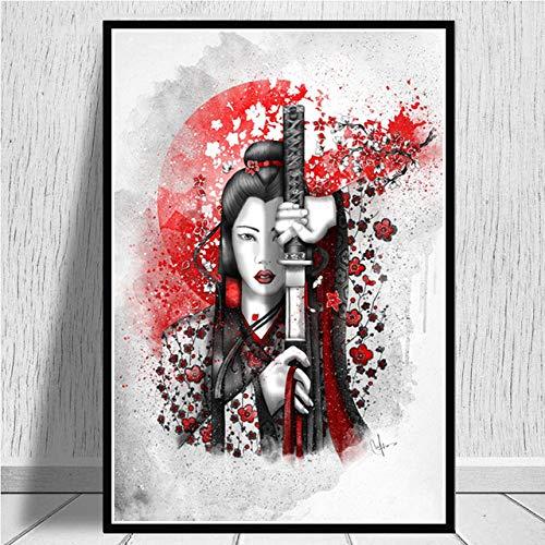 SJAKMA Cuadro En Lienzo,Samurai Japonés Cerezo Non-Woven Carteles Mural,Arte Abstracto Ukiyo-E Imagen 3D Pared Vertical Pintar Ilustraciones Dormitorio Decoraciones Home Office,50Cm*70Cm Sin Cerco