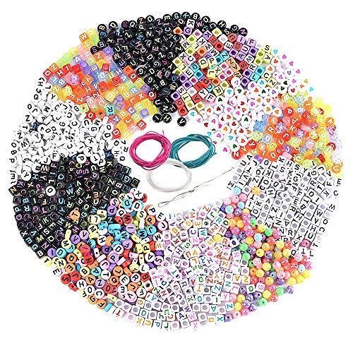 Souarts - Alfabeto acrílico con Letras de Colores de Perlas de la A a la Z, 1300 Unidades, 1300 Pcs Buchstabenperlen