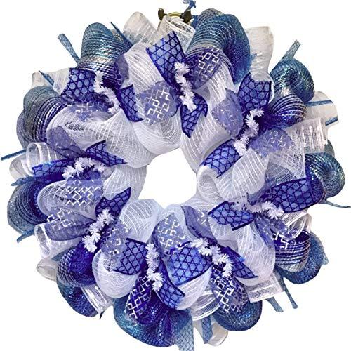 Glittering Silver And Blue Hanukkah Deco Mesh Ribbon Wreath