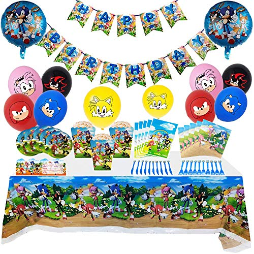 Sonic The Hedgehog Party Supplies Decoration Set Happy Birthday Party Tableware Packs Includes Flatwares, Cups, Tablecloth, Napkins, Balloons, Banner,Cakeforks for 10 Kids Girls Boys