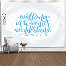 EMMTEEY Wall Tapestry Large, Tapestries Decor Living Room Bedroom for Home 80X60 Inches for Walking in Winter Wonderland Holiday Poster Light Blue Stroke Background Christmas Quote Calligraphy