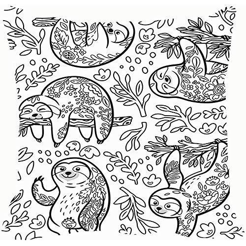 Patrón sin costuras de tinta Perezosos lindos Animales florales Fondos para colorear de vida silvestre Texturas Cojines Fundas de cojines Fundas de cojines Fundas de almohadas Sofá Decoración para el hogar 45X45 cm