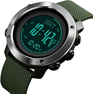 Wangyr Black Green Multi-function High Pressure Compass Step Stopwatch Alarm Clock EL Backlight Woman Girl Student Electronic Watch Outdoor Sports Waterproof Holiday Gift Box Creative Unique Fashion C