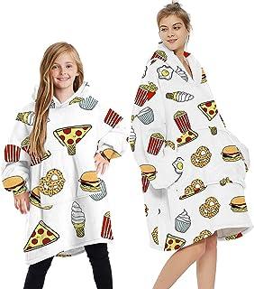 SumaidaAU Wearable Blanket Sweatshirt Hoodie for Women and Men Girl Boy Oversized Double Fleece Plush Cartoon Hooded Top w...