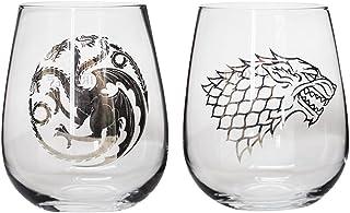 Game of Thrones Collectible Wine Glass Set (House Stark & House Targaryen)