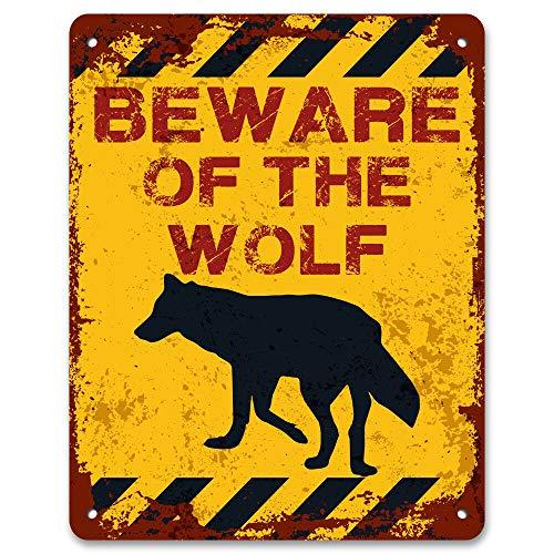 RABEAN Beware of The Wolf Eisen Malerei Wandschilder Warnschild Metall Plaque Poster Kunst Dekoration für Bar Café Hotel Büro Schlafzimmer Garten