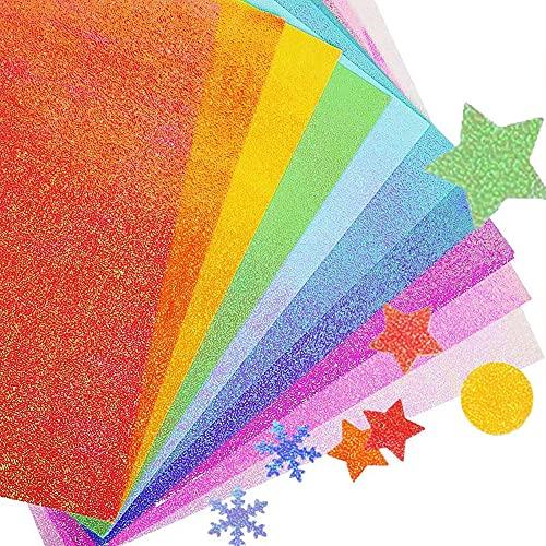 THETAG Glitter Cardstock Papier, 50 Blatt Farbiger Scrapbooking Papier Sparkly Premium Craft Cardstock Birthday Party Scrapbook, 10 Farben