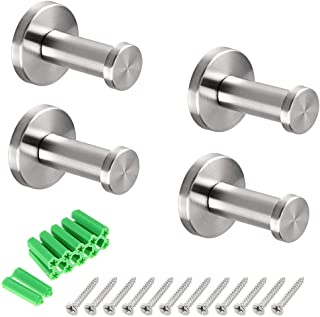 Brushed Stainless Steel Towel Hook, 4 Pcs Wall Mount Robe Coat Hangers Holder - Heavy Duty Contemporary Towels Hooks for B...