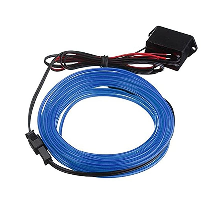 実用的めったに接続詞ELワイヤー,SODIAL(R) 2メートル ELケーブルDC 12Vフレキシブルネオンライト(クリスマスパーティー用)パーティーハロウィンコスチュームディスプレイ(ブルー)