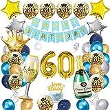 60 Cumpleaños Decoracion Globos, APERIL Azul Oro Plata Globos de Cumpleaños Feliz Fiesta 60 Años Adultos Mujer Hombre, Globos Numeros Gigantes 60, Happy Birthday Pancarta, Confeti Latex Globos Corona