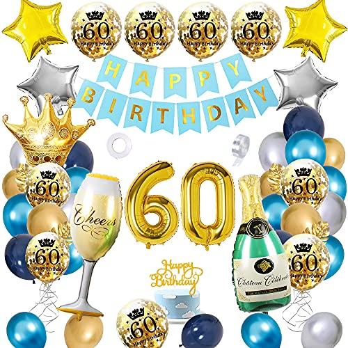 APERIL Palloncini Compleanno 60 anni Blu Oro Argento Palloncini Addobbi, Donna e Uomo Decorazioni Feste, Palloncini Coriandoli Happy Birthday Striscione Corona Champagne Tazza Palloncini Numero 60