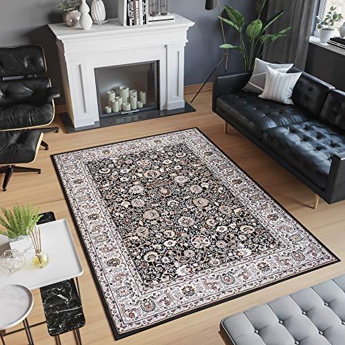 Tapiso Laila Alfombra de Salón Sala Dormitorio Diseño Clásico Gris Negro Marrón Hojas Flores Bordura Suave 200 x 300 cm