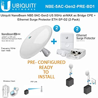 NanoBeam ac Gen2 NBE-5AC-Gen2-US PRE-CONFIGURED 5GHz airMAX ac Bridge CPE (2-Pack) with Ethernet Surge Protector Gen 2 ETH-SP-G2 (2-Pack) - Ready to Install