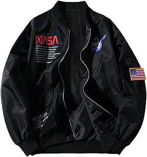 ZAFUL Unisex NASA Logo Letter Graphic American Flag JacketCoat Zip up Long Sleeves Coat Streetwear with Pocket