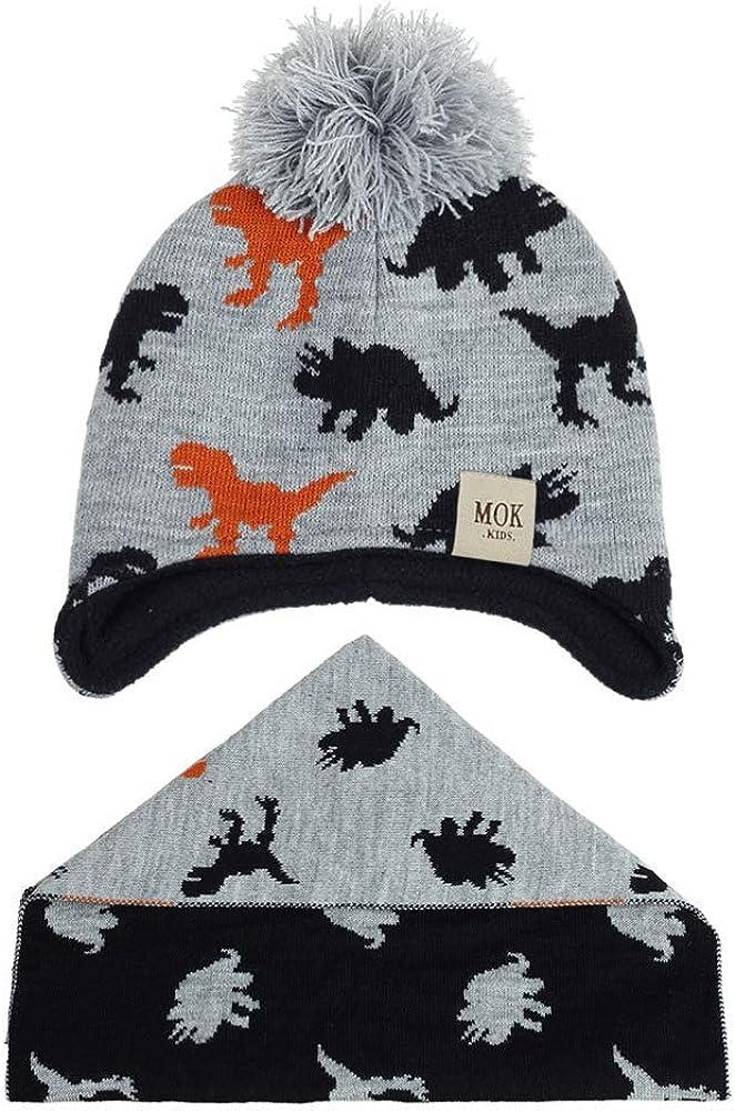 TMEOG Baby Kids Cappello Invernale Ragazzi Ragazze Berretto Caldo Lavorato a Maglia con Sciarpa ad Anello con Pompon Cappello allUncinetto e Scaldacollo
