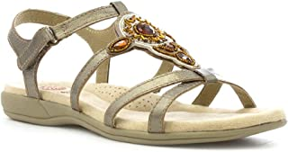 46a07e2d34c7 Earth Spirit Womens Leather Platinum Casual Sandal