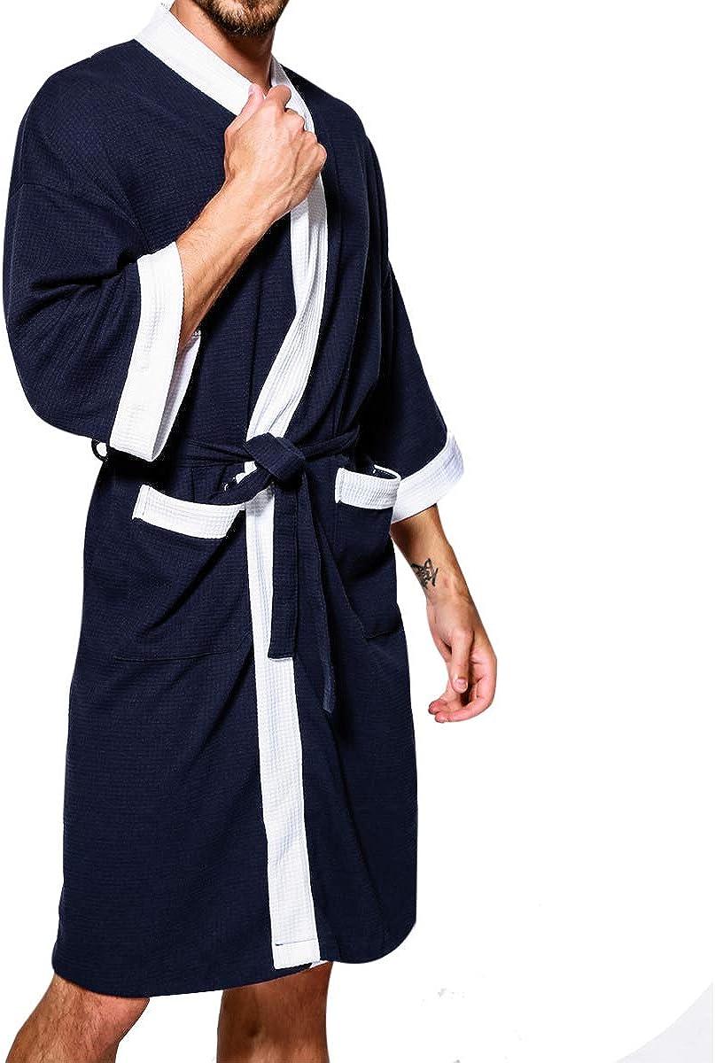 TAKIYA Mens Spa Bathrobe Waffle Turkish Cotton Lightweight 3//4 Sleeve Kimono Robe Shawl Collar Nightgown Sleepwear