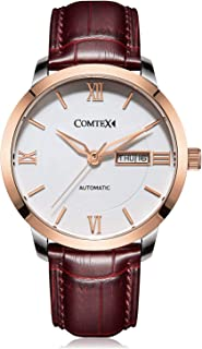 Comtex Men's Automatic Watches Rose Gold Dial case with Date Brown Leather Business Dress Wristwatches