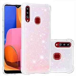 Lijc Samsung Galaxy A20S Fodral Glitter Flytande kvicksand Transparent av Four Corners Anti-Fall TPU Stötfångare Mjukt sil...
