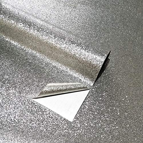"Self Adhesive Glitter Wall Paper for Walls Waterproof Peel and Stick Roll Textured Sparkle Decor Art Craft Bling Wallcovering17.7""X200""(Silver)"