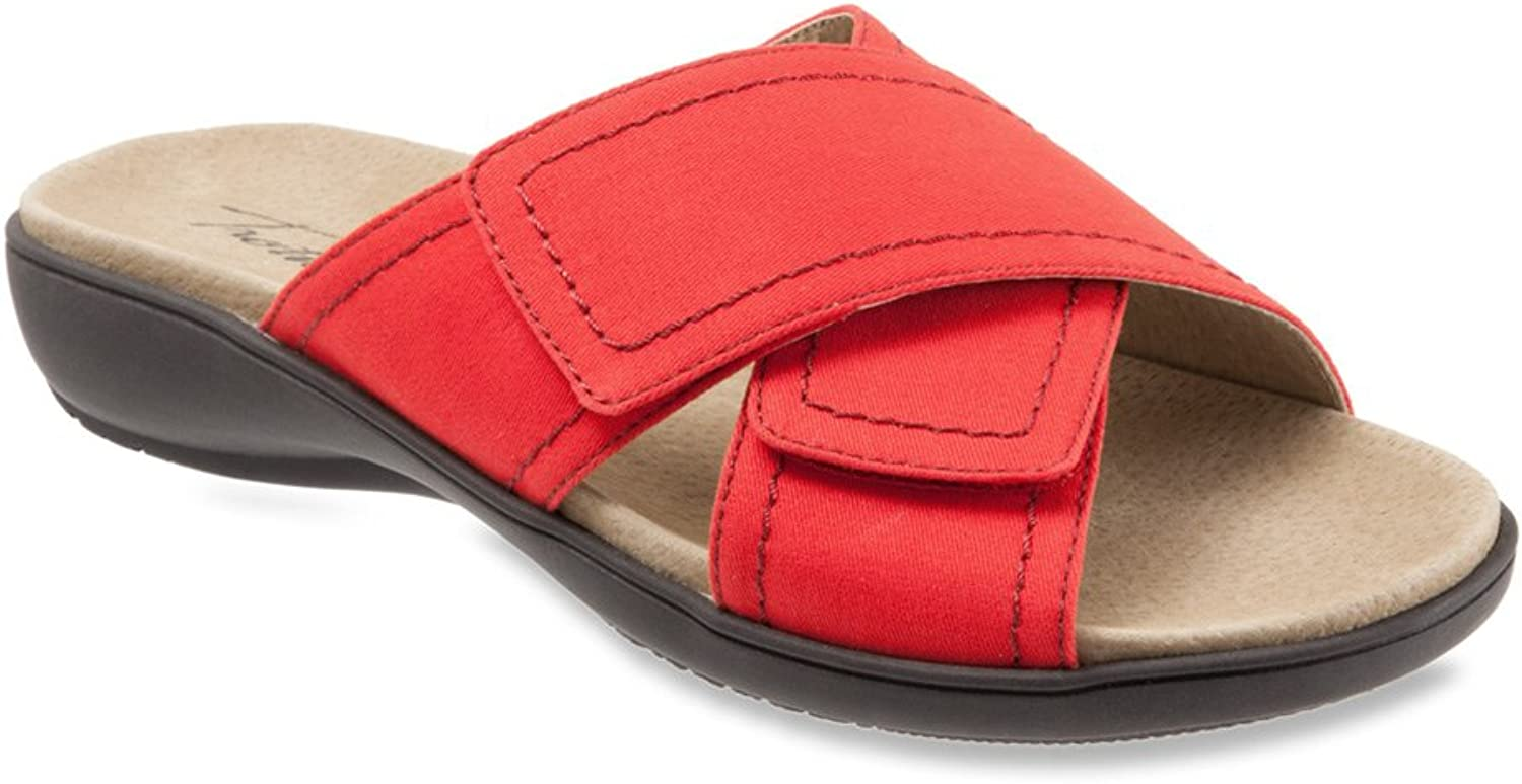 Tredters Womens Getty Leather Open Toe Casual Slide Sandals