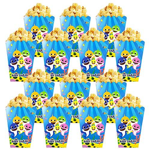 Qemsele Scatole di Popcorn, 30 Pezzi Cartone Animato Scatole di Carta per Regalo per Feste di Compleanno, Serate di Cinema, Carnevale, teatro e Feste (Shark)