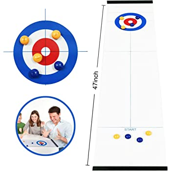 Hoqiang Table Top Curling Game Family Games for Kids and Adults Shuffleboard Pucks Table and Curling Set Indoor Travel Game Team Board Game Training Fun Family Games