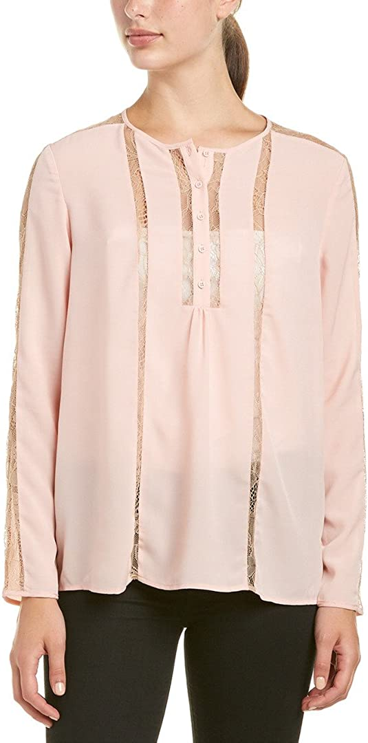 French Connection Women's Polly Plains Lace Insert Blouse
