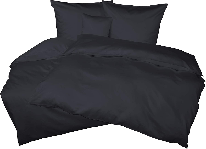Bettwsche einfarbig Set Mako Satin Uni 135 x 200 cm 100% Baumwolle Kissenbezug Bettbezug (Anthrazit, 2 teilig 155x220 + 40x80 cm)