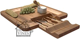 Deluxe Bamboo Cheese and Cracker Serving Tray with Hide-Away 4 Piece Utensil Set ~All Natural Bamboo Board ~ Wine and Cheese party tray ~ Includes Sample Wine Glass Charm ~ By HouseVines