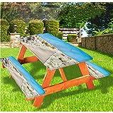 LEWIS FRANKLIN - Mantel ajustable para mesa de picnic y mesa de playa, diseño de costa pacífica de Cerdeña Italia con borde elástico, 70 x 72 cm, juego de 3 piezas para mesa plegable