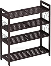 LANGRIA 4-Tier Bamboo Shoe Rack Tower Organizer with Handles and Side Hangers Features Durable Heavy-Duty Shelves for Storage of 16 Pairs of Boots and Shoes in Entryway, Bedroom, Dressing Room