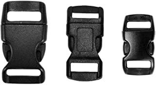 Paracord Planet 60 Pack - 3/8, 1/2, and 5/8 inch Black Contoured Side Release Buckles (20 Each)