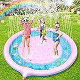 Jojoin Splash Pad, Juego de Salpicaduras y Salpicaduras, Almohadilla de aspersión de 170 cm, Piscina para niños, Juego de Verano para Actividades Familiares (Rosa - Auzl)