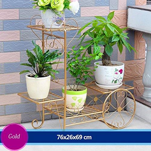 Cadre de fleur de fer Cadre de plancher de fleurs Salon Balcon Balustrade multifonctionnel à fleurs (76 * 26 * 69cm) (Couleur : Or)