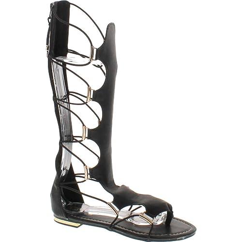 1ef086cb00d Yoki Women s Anya-50 Knee-High Gladiator Thong Sandals