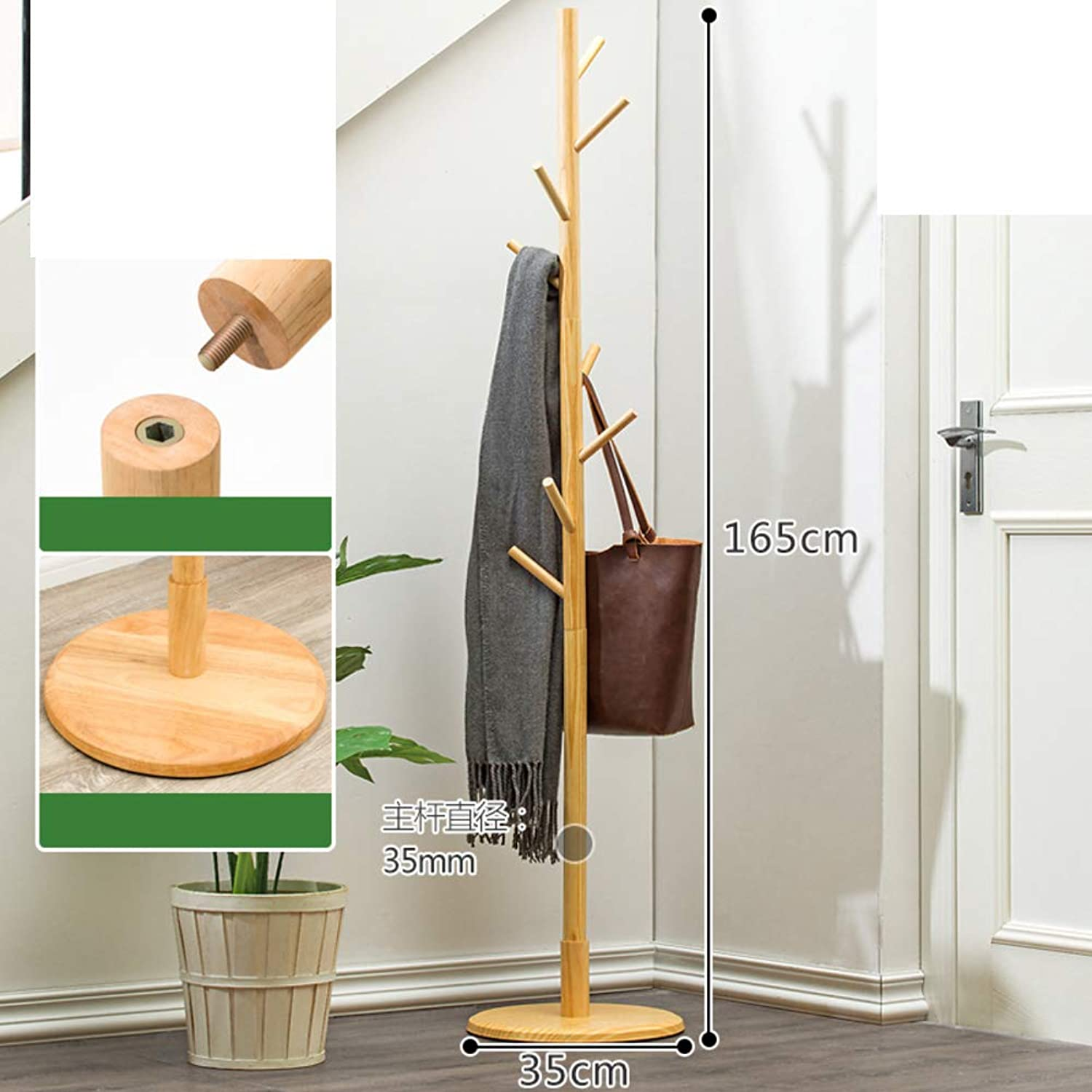 Wooden Coat Rack, Simple Modern Hanger Free Standing Solid feet Hall Tree Rack for Clothes Hats and Scarves-G